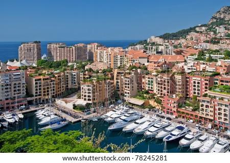 luxury yachts in harbor monaco - stock photo