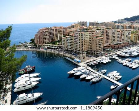 Luxury yachts in the Harbor of Monaco - stock photo