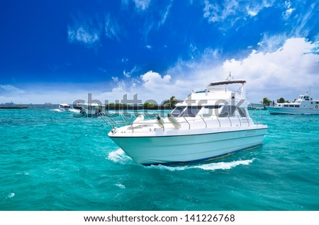 Luxury yatch in beautiful ocean - stock photo