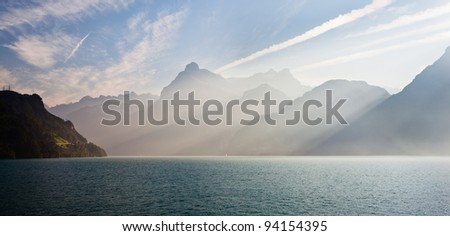 Luzern lake with light rays - stock photo