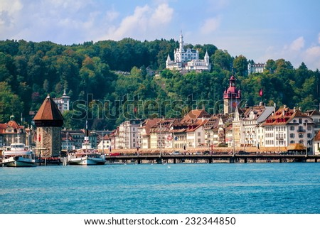 Luzern, Switzerland, view over city from Lake Lucerne - stock photo