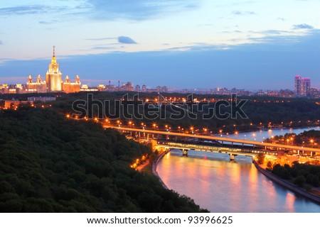 Luzhnetsky metro bridge, Moscow State University, panorama of Moscow, Russia - stock photo