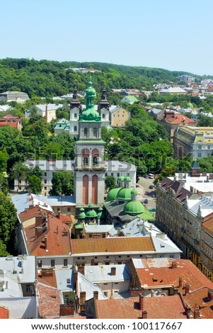 lviv at summer, view from City Hall