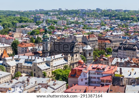 lviv at summer, view from City Hall - stock photo