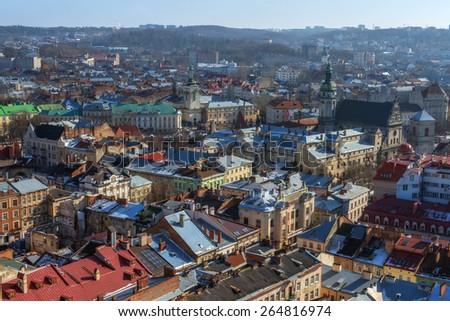 Lviv city day landscape. Ukraine - stock photo