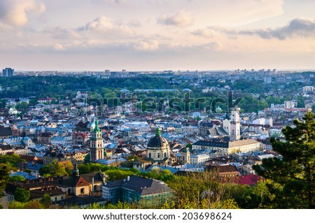 Lviv old city. Evening view from High Castle - stock photo