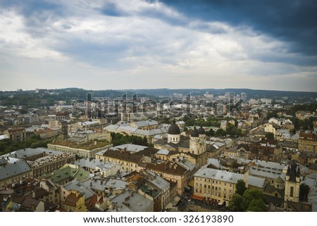 Lviv old city panorama view in cloudy weather