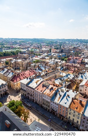 Lviv panoramic bird's-eye view of from of the city centre in Ukraine