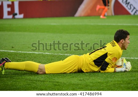 LVIV, UKRAINE - APR 28: David Soria in action during the semi finals UEFA Europa League match between Shakhtar vs FC Sevilla (Spain), 28 April 2016, Arena Lviv, Ukraine