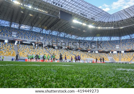 LVIV, UKRAINE - APR 28: General view of the football stadium Arena Lviv before the semi finals UEFA Europa League match between Shakhtar vs FC Sevilla (Spain), 28 April 2016, Arena Lviv, Ukraine