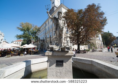 Lviv, Ukraine, circa august 2016: Sculpture of the Neptune on a market square in Lviv, Ukraine