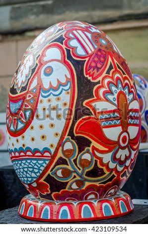 LVIV, UKRAINE - CIRCA MAY 2016: Huge colored eggs Pysanka egg with different traditional designs and patterns on religious themes on the eve of Easter