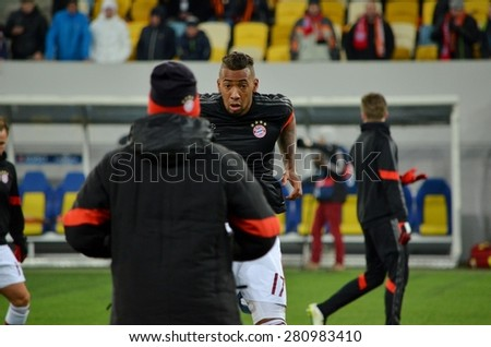 LVIV, UKRAINE - FEB 17: Jerome Boateng in action before the match between Shakhtar vs Bayern Munich, 17 February 2015, Arena Lviv, Lviv, Ukraine