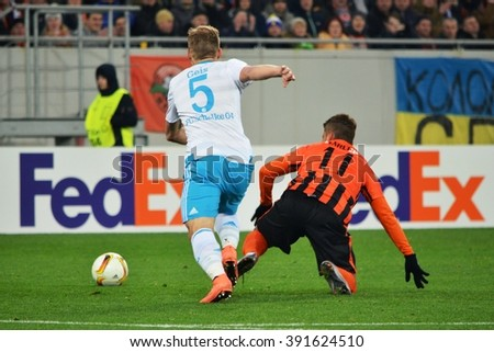 LVIV, UKRAINE - FEB 18: Johannes Geis (R) in action during the UEFA Europa League match between Shakhtar vs Schalke 04 (Germany), 18 February 2016, Arena Lviv, Ukraine