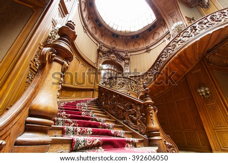 """LVIV, UKRAINE - 18 February, 2016: House of Scientists - a former national casino (until 1939) built by """"Fellner and Helmer"""" in the years 1897-1898. February 18, 2016 Lviv, Ukraine. - stock photo"""
