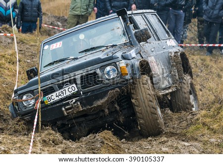 Lviv, Ukraine - February 21, 2016: Off-road vehicle brand Nissan (No. 277) overcomes the track on a amateur competitions Trial near the city Lviv, Ukraine