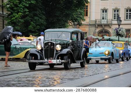 Lviv, Ukraine - June 2015: Auto festival Leopolis grand prix 2015. Old vintage retro car. Photos taken in rainy weather - stock photo