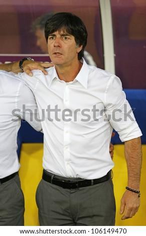 LVIV, UKRAINE - JUNE 17: Germany national team head coach Joachim Low looks on during UEFA EURO 2012 game against Denmark on June 17, 2012 in Lviv, Ukraine - stock photo