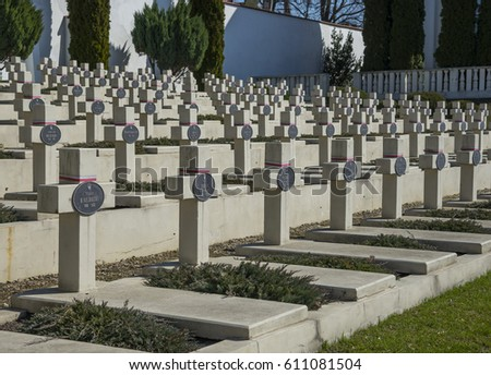 LVIV, UKRAINE - MARCH 28, 2017: Military cemetery in Lychakiv Cemetery