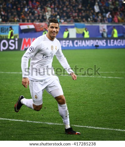 LVIV, UKRAINE - NOVEMBER 25, 2015: Cristiano Ronaldo of Real Madrid reacts after scored a goal during UEFA Champions League game against FC Shakhtar Donetsk at Arena Lviv stadium - stock photo