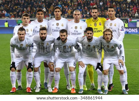 LVIV, UKRAINE - NOVEMBER 25, 2015: Real Madrid players pose for a group photo before UEFA Champions League game against FC Shakhtar Donetsk at Arena Lviv