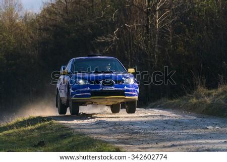 Lviv, Ukraine - November 1, 2015: Unknown racers on the car brand Subaru Impreza WRX STI (No.8) overcome the track at the annual Rally of Galicia, near the city of Lviv, Ukraine - stock photo
