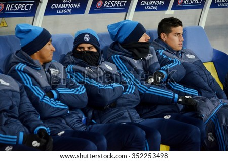 LVIV, UKRAINE - OCT 25: Bench for Real Madrid during the UEFA Champions League match between Shakhtar vs Real Madrid, 25 October 2015, Arena Lviv, Ukraine