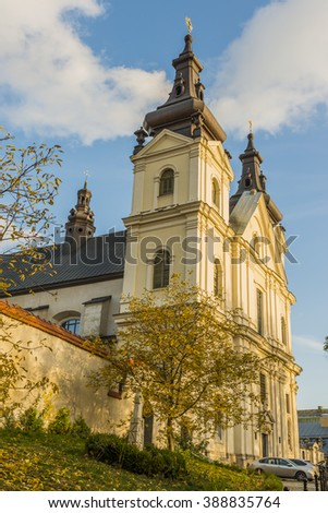 LVIV, UKRAINE - OCT 26, 2015: Catholic church of St. Michael the Archangel (Carmelite Church) - a monument of architecture in Lviv, on Vinnichenko Street. Picture taken during a trip to Lviv.