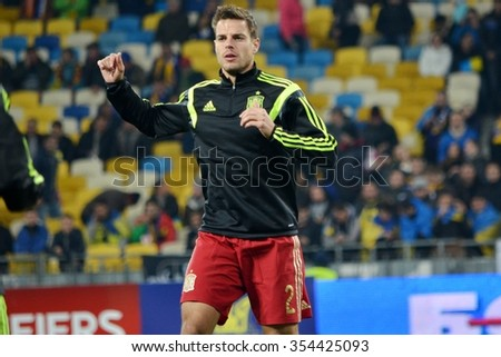 LVIV, UKRAINE - OCT 12: Cesar Azpilicueta before the UEFA EURO 2016 qualifying match national team of Ukraine vs Spain, 12 October 2015, Olympic NSC, Kiev, Ukraine