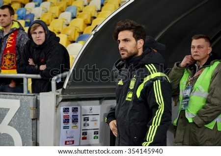 LVIV, UKRAINE - OCT 12: Cesc Fabregas before the UEFA EURO 2016 qualifying match national team of Ukraine vs Spain, 12 October 2015, Olympic NSC, Kiev, Ukraine
