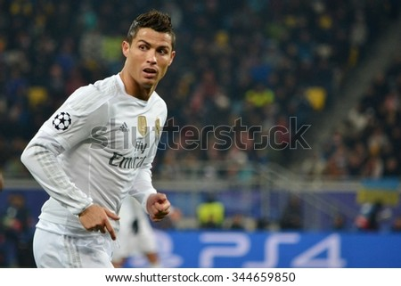 LVIV, UKRAINE - OCT 25: Cristiano Ronaldo in action during the UEFA Champions League match between Shakhtar vs Real Madrid, 25 October 2015, Arena Lviv, Ukraine - stock photo
