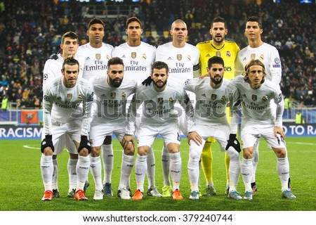 LVIV, UKRAINE - OCT 25: Group photo of Real Madrid players during the UEFA Champions League match between Shakhtar vs Real Madrid, 25 October 2015, Arena Lviv, Ukraine. - stock photo