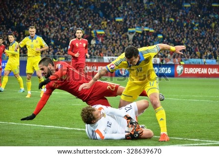 LVIV, UKRAINE - OCT 12: Isco (L) in action during the UEFA EURO 2016 qualifying match national team of Ukraine vs Spain, 12 October 2015, Olympic NSC, Kiev, Ukraine