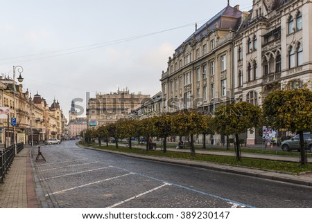 LVIV, UKRAINE - OCT 26, 2015:  Morning Lviv.  Shevchenko Avenue. Streets and buildings in the old town in the direction of the Market Square. Picture taken in the morning during a trip to Lviv.