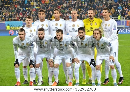 LVIV, UKRAINE - OCT 25: Real Madrid the team photos during the UEFA Champions League match between Shakhtar vs Real Madrid, 25 October 2015, Arena Lviv, Ukraine - stock photo