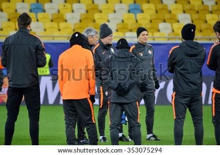 LVIV, UKRAINE - OCT 25: Train Shakhtar players before the UEFA Champions League match between Shakhtar vs Real Madrid, 25 October 2015, Arena Lviv, Ukraine