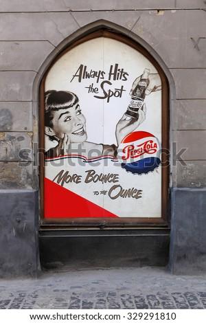 LVIV, UKRAINE - OCTOBER 06: advertizing of Pepsi on street on October 06, 2013 in Lviv. - stock photo