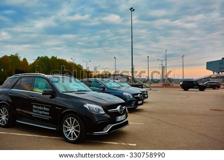 Lviv, Ukraine - OCTOBER 15, 2015: Mercedes Benz star experience. The interesting series of test drives new cars - stock photo