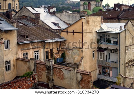 LVIV, UKRAINE - old courtyards with bird's-eye view - stock photo