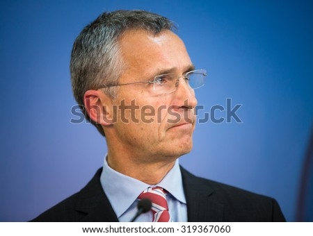 LVIV, UKRAINE - Sep 21, 2015: NATO Secretary General Jens Stoltenberg during a joint briefing with President of Ukraine Petro Poroshenko on the opening of NATO-Ukraine exercise on emergency situations - stock photo