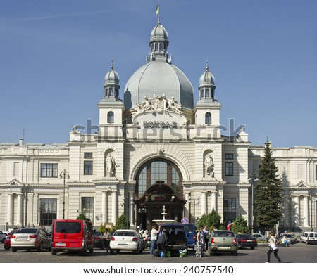LVIV, UKRAINE - SEPTEMBER 16: exterior of Lviv Railway Station on September 16, 2014 in Lviv, Ukraine. Lviv is the largest city in western Ukraine with a population of 725,000.  - stock photo
