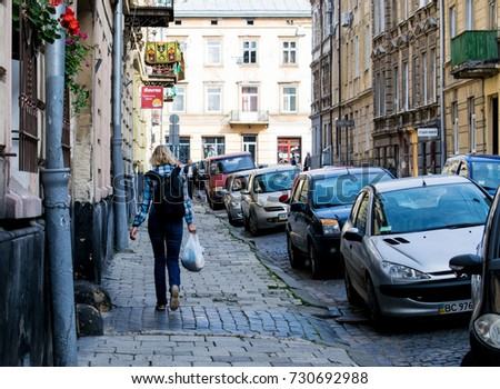 Lviv, Ukraine-September 26, 2017: The street in the city is crowded with cars.