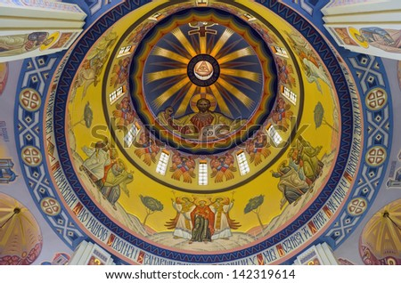 LVOV, UKRAINE - JUNE 13: Jesus christ on the wall painting in built church of St. Vladimir and Olga on June 13, 2013 in Lviv, Ukraine. In photo - dome of the church of St. Vladimir and Olga