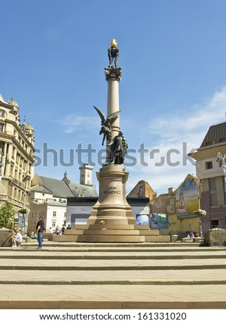 LVOV, UKRAINE - MAY 11: monument to poet Adam Mitskevich on May 11, 2013 in Lvov, Ukraine, has been erected in 1904.