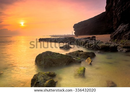 LY SON ISLAND-QUANG NGAI-VIETNAM. APRIL 26,2014. A view of beautiful sunrise in LY SON ISLAND - QUANG NGAI-VIETNAM