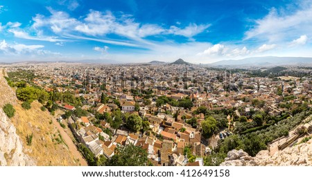Lycabettus hill in Athens, Greece in a summer day