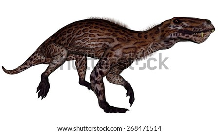Lycaenops dinosaur walking isolated in white background - 3D render - stock photo