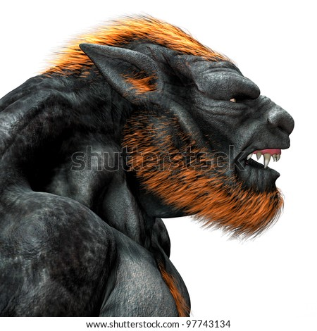 Lycan Werewolf closeup portrait. Side view snarling teeth and fangs showing. Isolated on white background.  Clipart cutout illustration. - stock photo