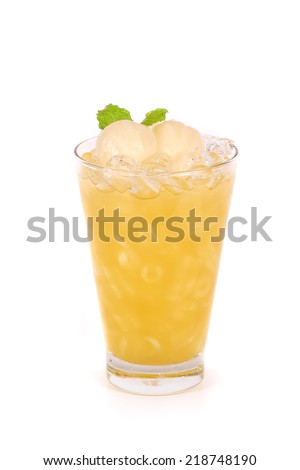 Lychee juice in a glass isolated on white background - stock photo