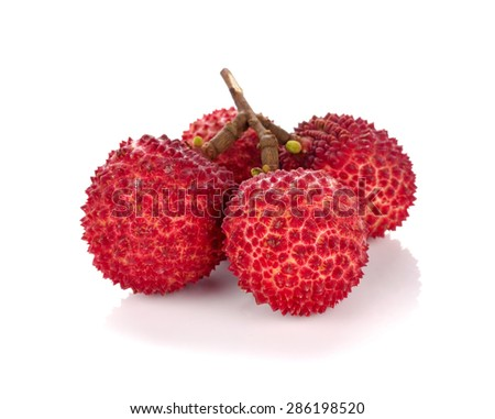 Lychee or Litchi isolated on the white background. - stock photo